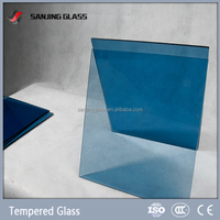 12mm ocean blue tinted tempered glass with ce & iso certificate