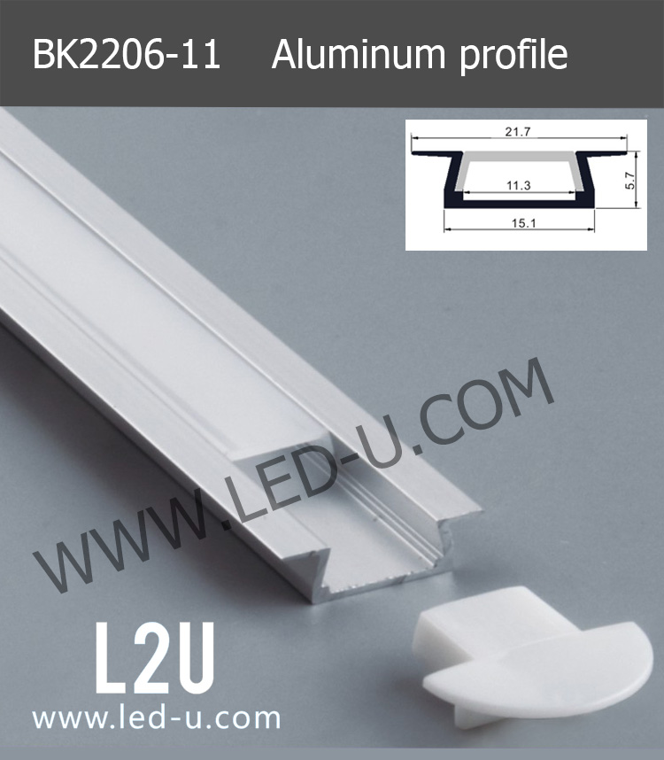 2206 T shape recessed mounted aluminum profile for floor/ ground led light bar