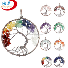 Wholesale natural crystal gemstone hand-wound Lucky Tree of Life Pendant