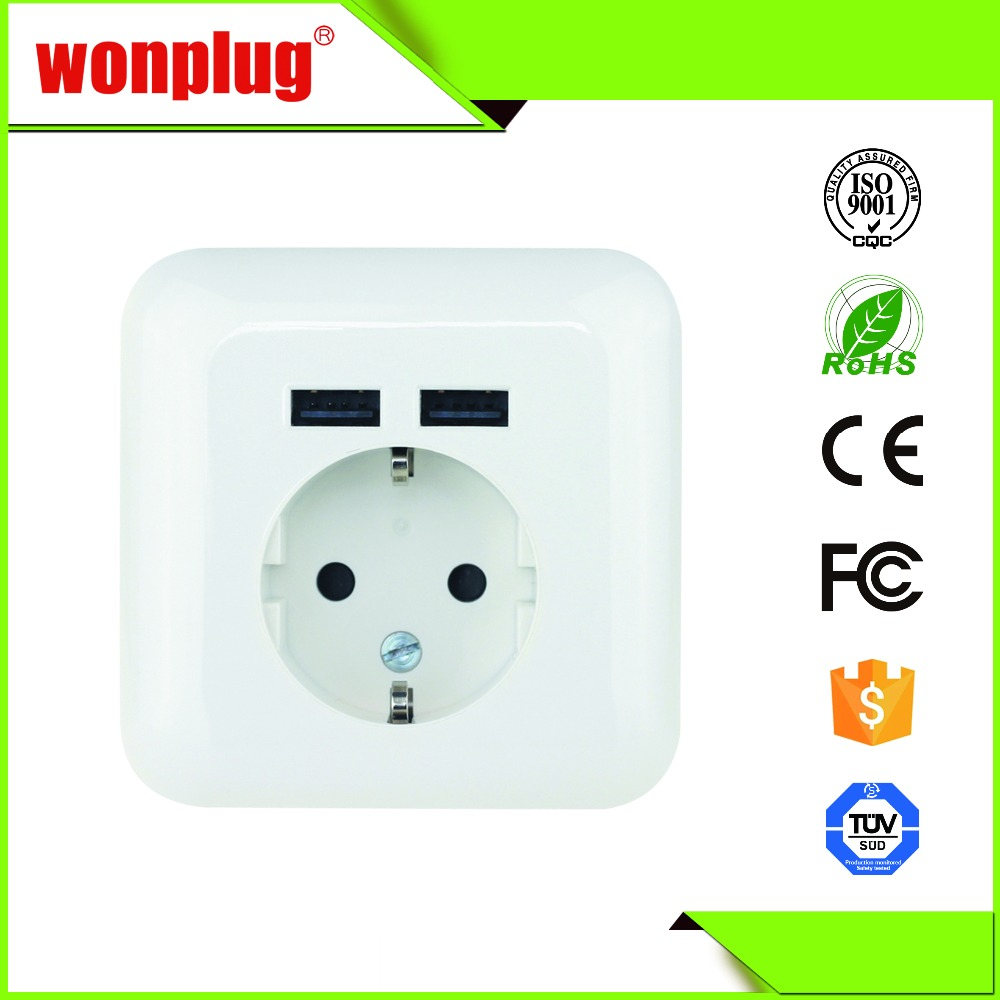 CE VDE approved usb plug wall socket with 2 fast charging USB ports