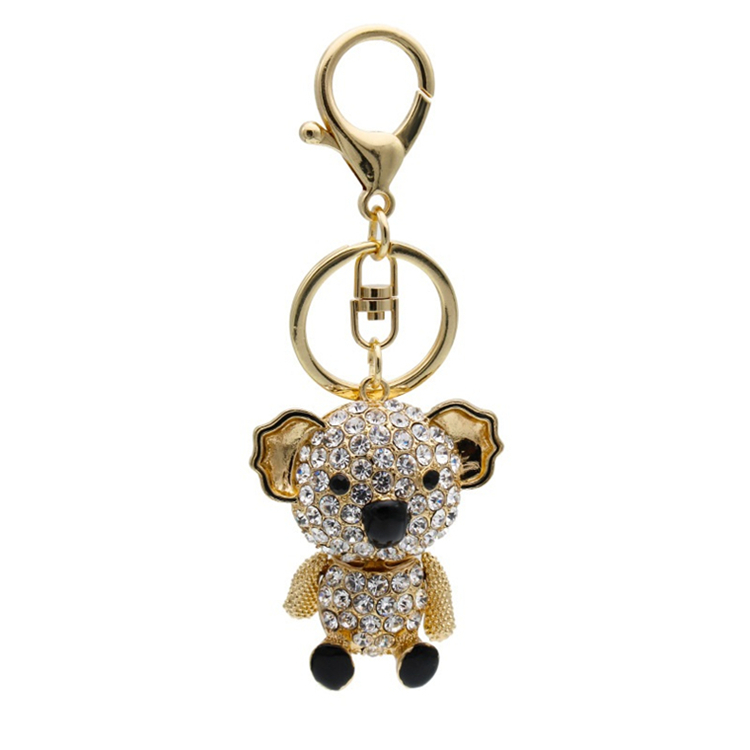 Puppy Colorful Crystal Rhinestone Koala Bear Keychain