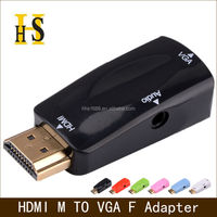 six color multi-function hdmi to vga converter with audio for network box hdmi male to vga female adapter