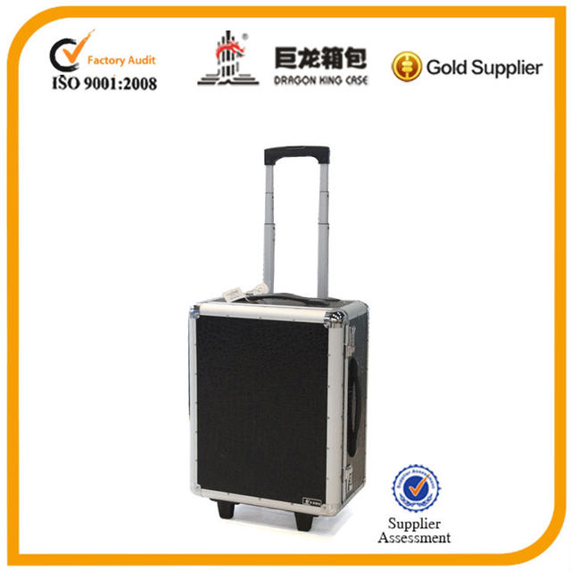 black color cosmetic case with trolley bar