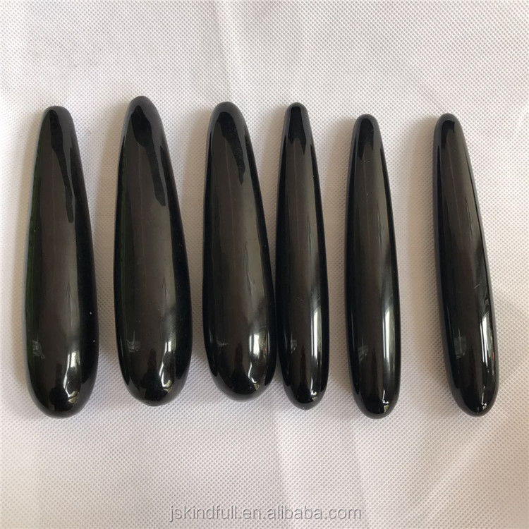 Natural black obsidian magic wand massager sex toy penis for men Health Energy Massage Stick