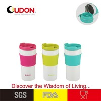 0.36L Vacuum thermos heating cup with silicone sleeve