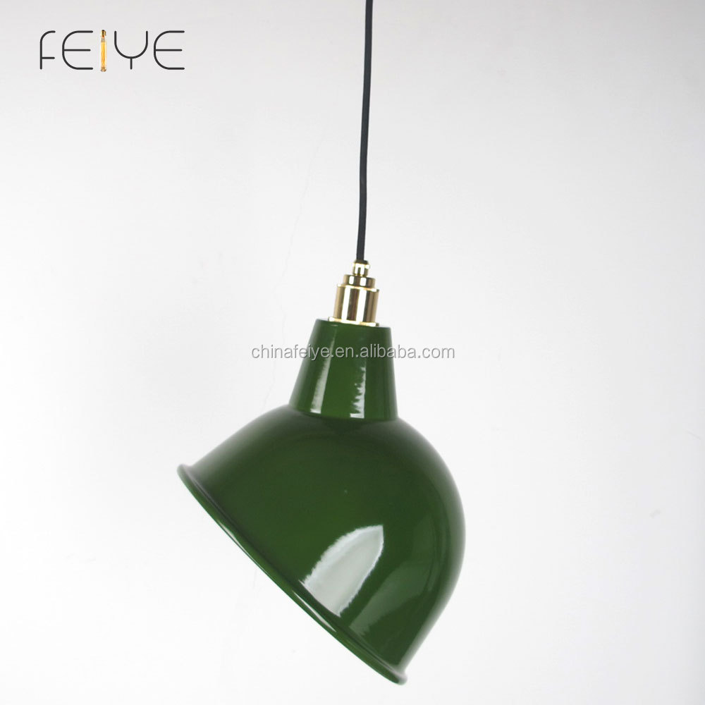 Factory Style Porcelain Enamel Pendant Light Vintage Green
