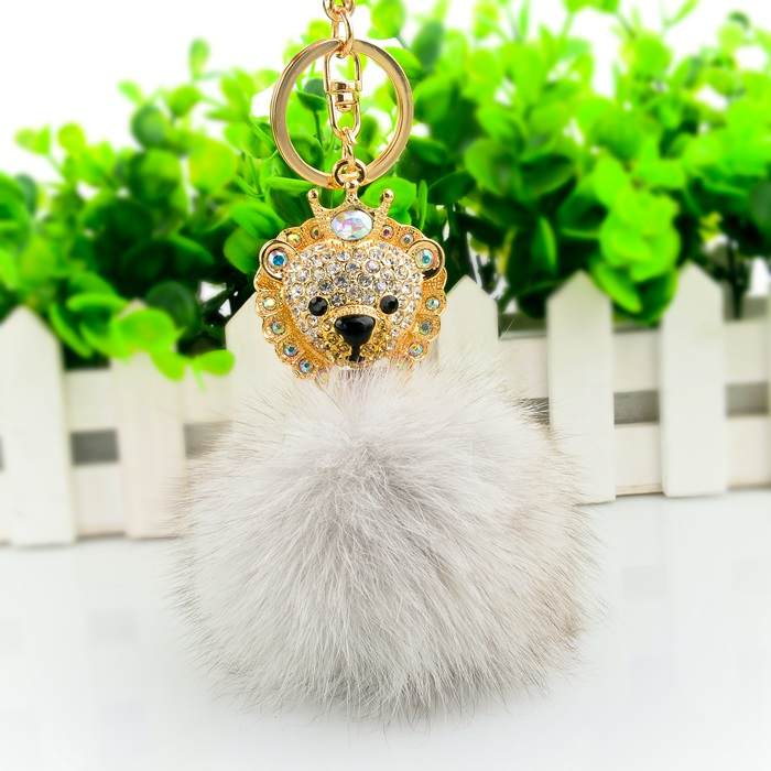 White Color Pom Pom with Flower Charm and Fur Key Chain / Purse Charm