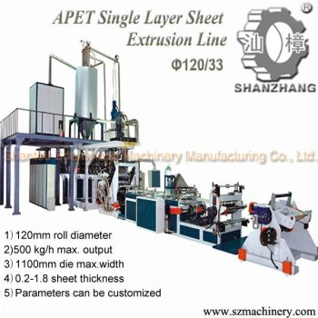 PET Plastic Sheet Food Extruder for single layer sheet