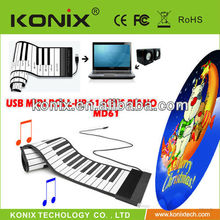 61 Keys USB Rubberized Flexible Piano Roll up Roll-up Electronic Piano Keyboard