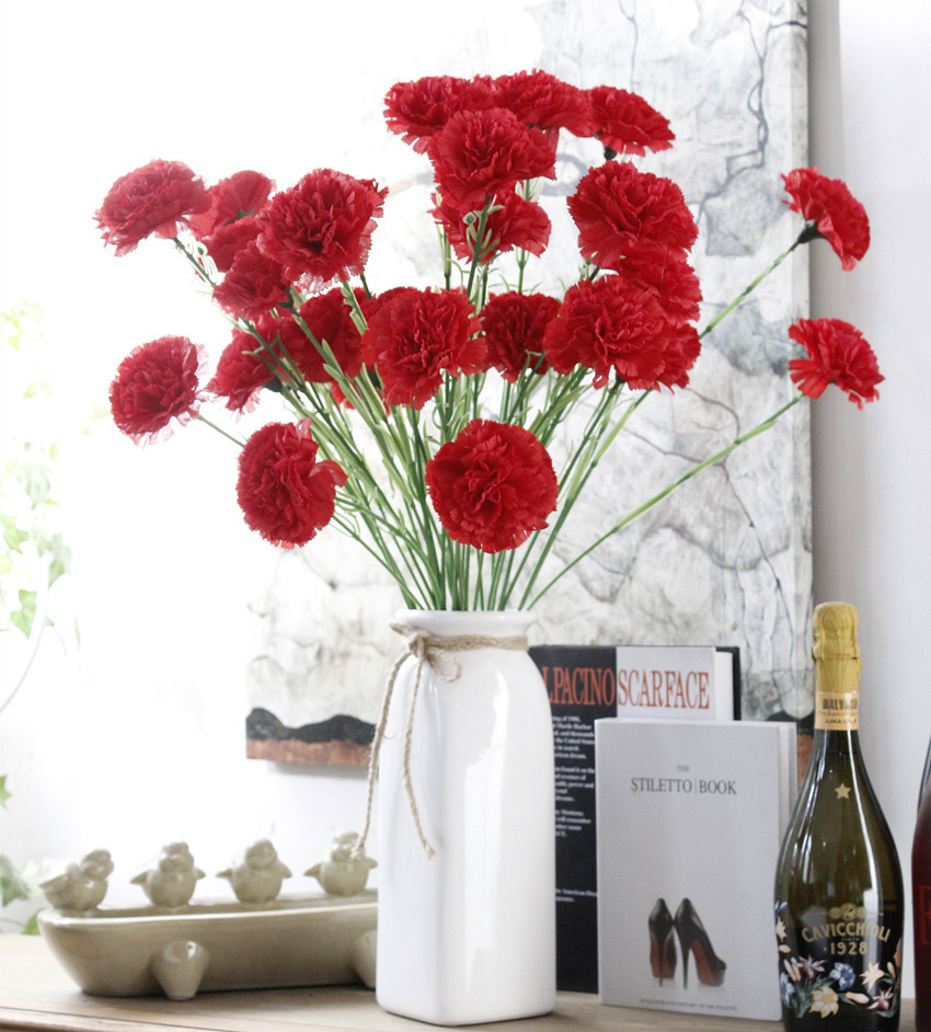 Simulation flowers 3 twigs carnations long branches fake flowers Yiwu artificial flowers home decoration silk