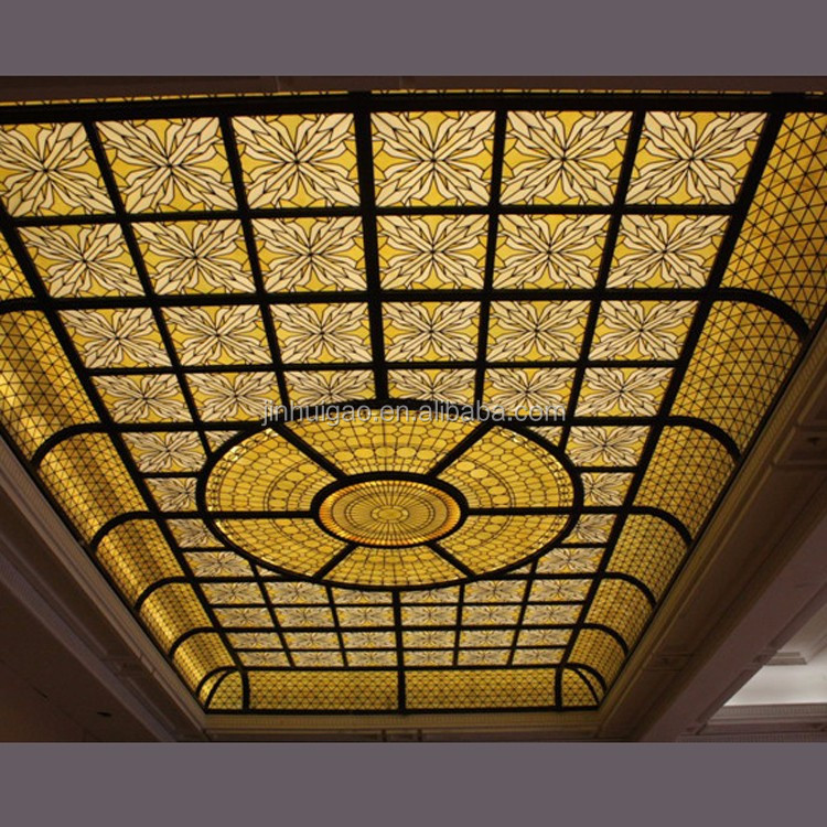 Custom design stained glass skylight dome for interior decoration