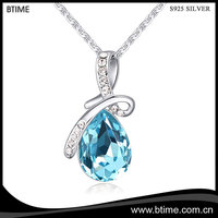 Wholesale High quality jewelry crystal rose gold plated 925 sterling silver pendant necklace
