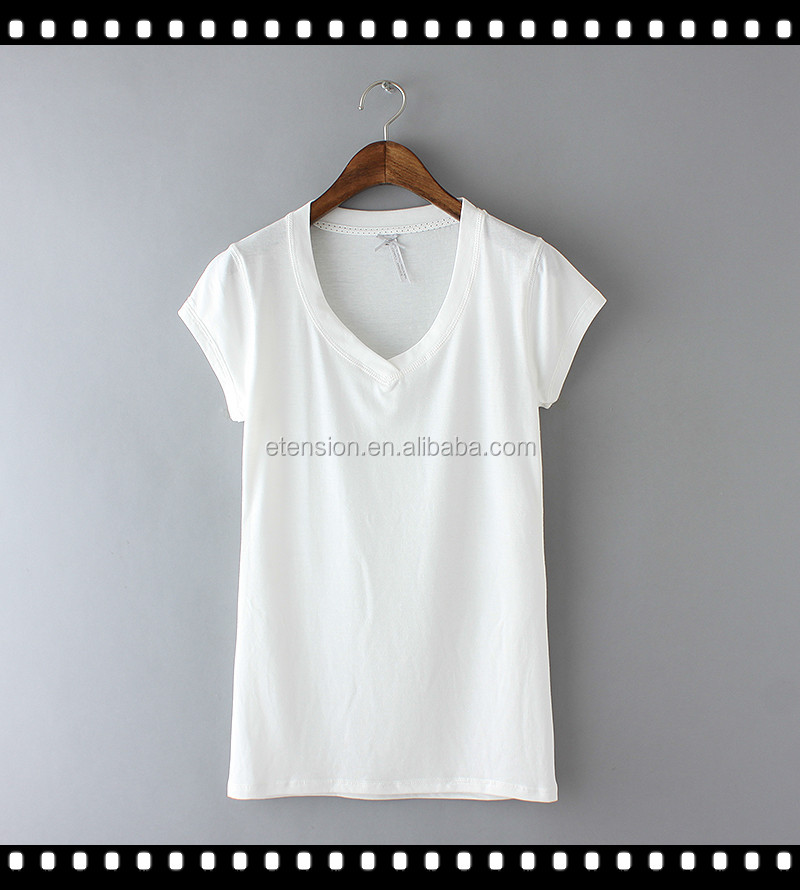 Ladies cheap bulk cotton plain white v neck t shirts buy for Where can i buy t shirts in bulk for cheap