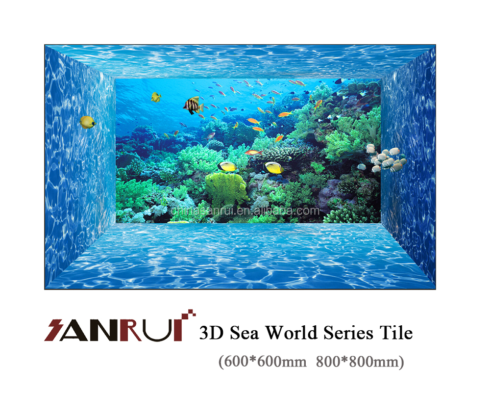 2016 sea world style micro crystal porcelain 3d ceramic tiles 3d wall paper