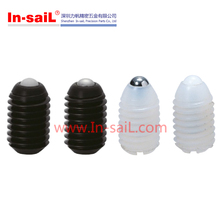 Nylon plastic threaded spring loaded ball plunger set screw with slot