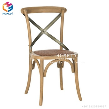 Popular Stackable Colorful cross back wood chair