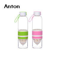 20 oz Easy-taking glass water bottle for juicing with plastic cap