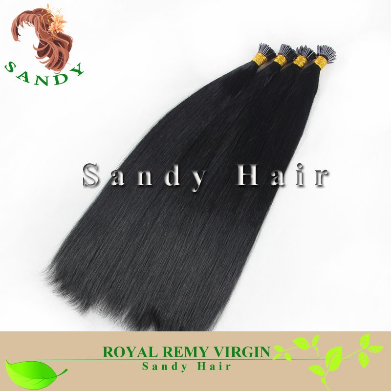 2017 Grade 8A high quality double drawn 100% indian remy I tip stick human hair extensions