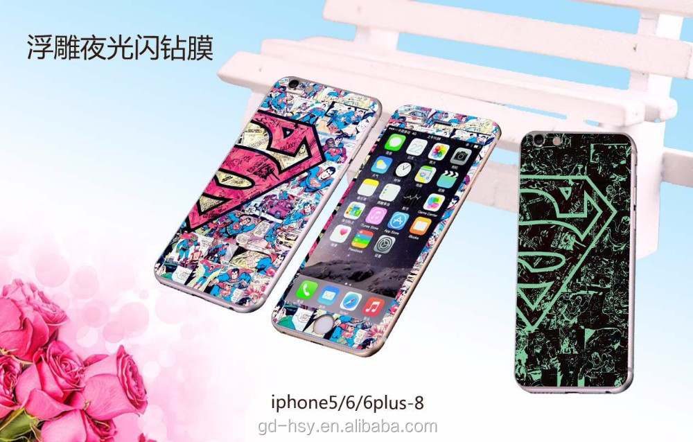 HUYSHE 0.3mm thickness cartoon tempered glass screen protector for iphone 6 6plus front and back accept customize