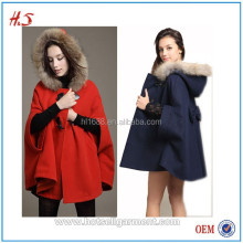 2015 fashion loose woolen women cape coat with big wool hooded