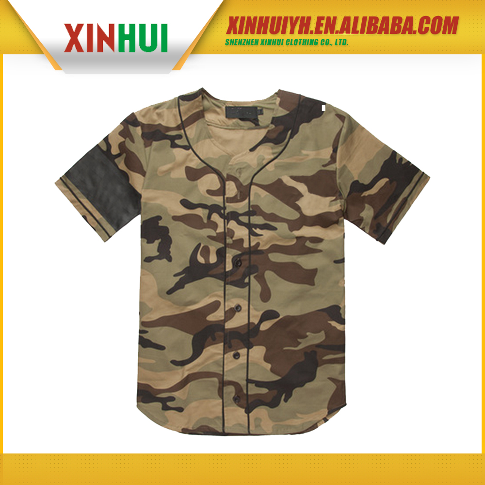 newest high quality sublimation printing dry fit custom camo baseball jerseys