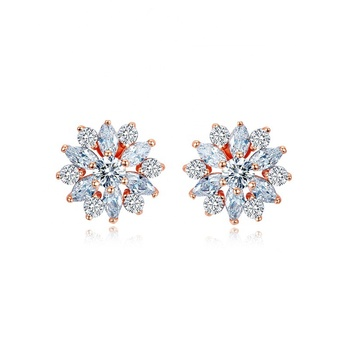 Caoshi 18K Rose Gold Plated With Cubic Zirconia Snowflake Earrings Stud Flower Stud Earrings