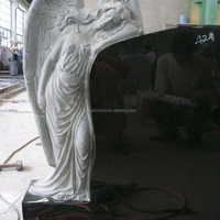 Absolute Black Carved Angel Granite Headstone