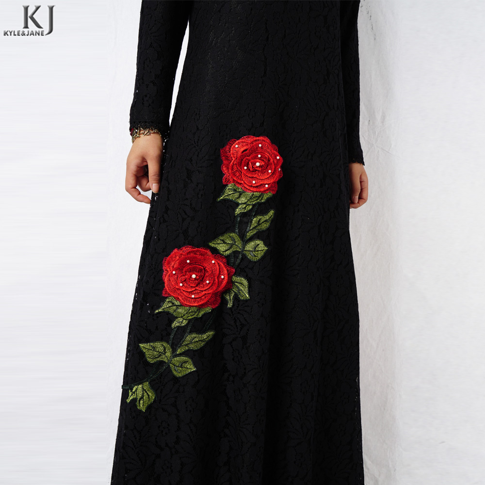 Latest lace and lining muslim clothes women dress lace black abaya islamic clothing dubai embroidery dress with beading