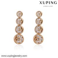 93462-alloy jewelry manufacturer 18k gold diamond heavy hanging earrings