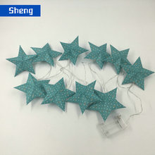 hot sale chrismas light led green falling star shaped led christmas string lights