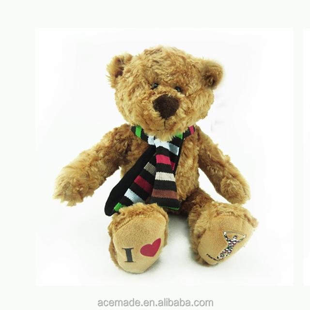 Custom Stuffed Plush Teddy Bear Toy With Scarf