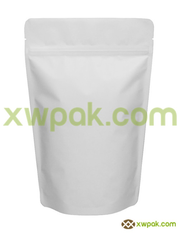 8 oz Matte white aluminum foil food stand up pouch with Zipper