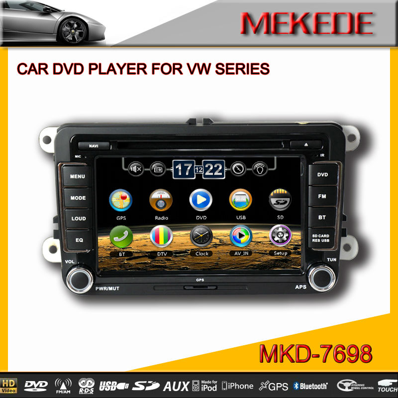 MTK 800MHZ Dual Core 7'' Car DVD player for VW Volkswagen Satitar golf 5 6 jetta with radio bluetooth ipod TV