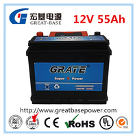 DIN55 12v 55AH sealed maintenance free battery mf car/automobile/automotive battery lead acid auto batteries