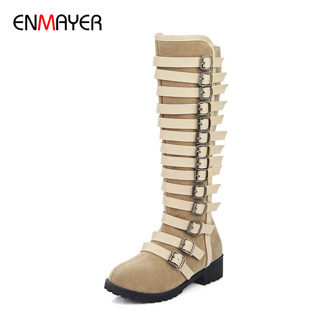 2016 womens shoes long suede boots, enmayer chunky heel shoes , ladies shoes