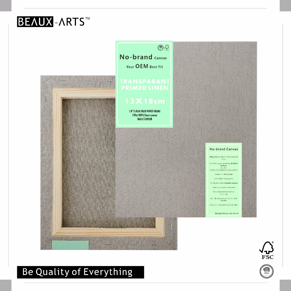 13x18Cm 290g Transparent Linen Art Blank Stretched Canvas for Painting with 1.8*3.8Cm Spruce for Acrylic, oil, tempera, caseins