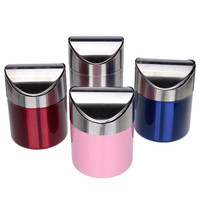 Hot Sale Top Quality Stainless Steel Trash Bin 1.5L Mini Car DustBin Swing Lid Kitchen Worktop Waste Rubbish Trash Can 4 Colors