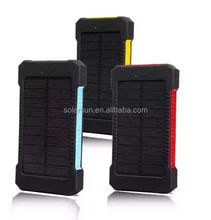 OEM factory china wholesale solar power bank portable 5000mah waterproof outdoor power bank with led light dual usb