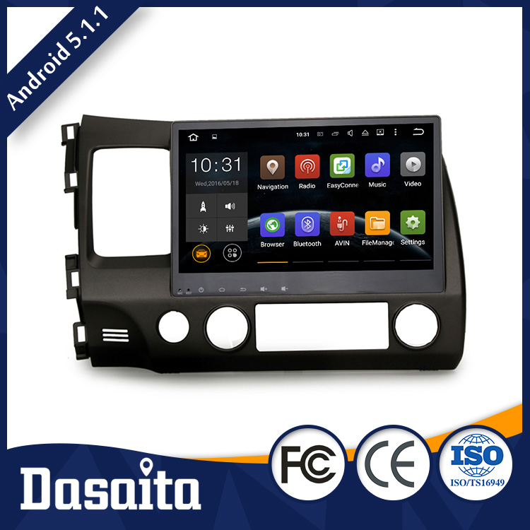 Cheap 10.2 Inch Android 5.1.1 OS GPS 3G car dvd player for Honda Civic 2009 2011