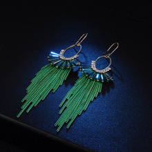 Long Metal Cartilage Chain Earrings Bohemia Style Crystal Metal Chain Tassels Jhumka Drop Earrings