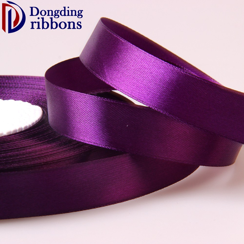 2017 cheapest satin ribbon roll ,100yard single face purple polyester satin ribbon