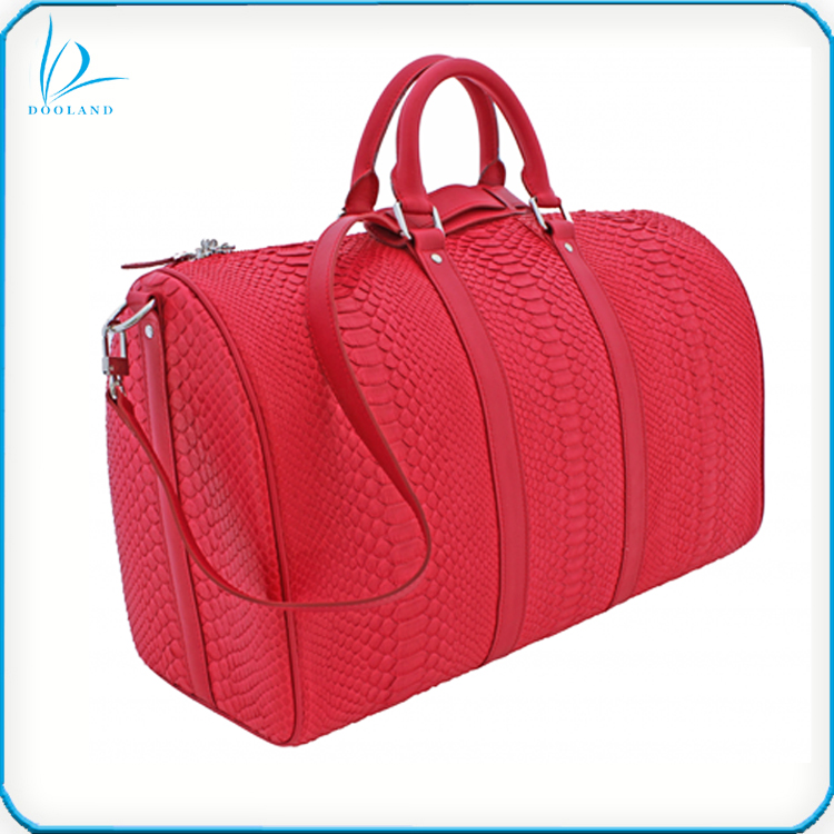 High quality men genuine python leather skin duffle bag for travelling
