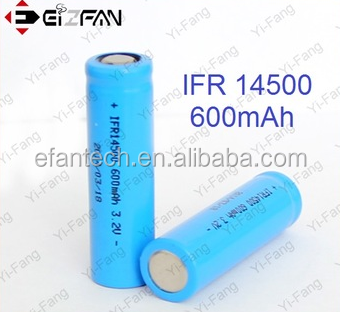 High quality EFAN 14500 Battery aa size Lifepo4 IFR14500 600mAh 3.2V Rechargeable Flat Battery