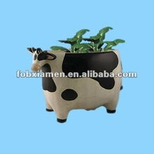 Novelty ceramic animal cow shaped planter