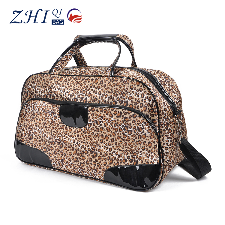 Hot sale athletic pattern satin sport foldable duffel travel bag