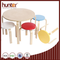 Colorful wooden table w. 4 stools