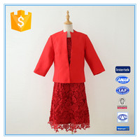 Latest Red Embroidery Lace Suit Dress For Women Wedding