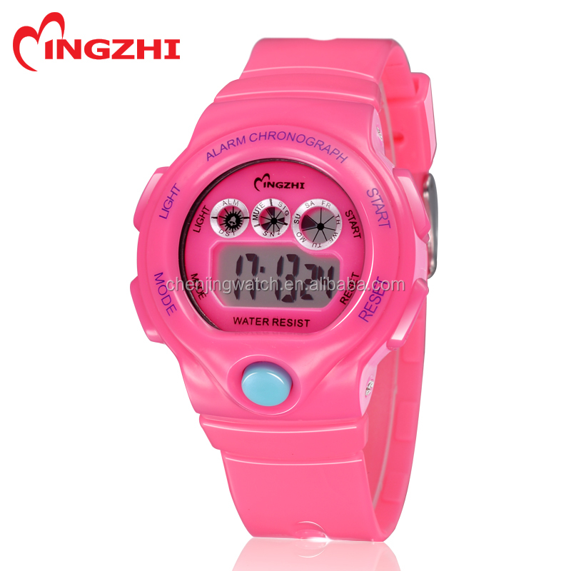 colorful fashion plastic digital movement Japan battery girls watches