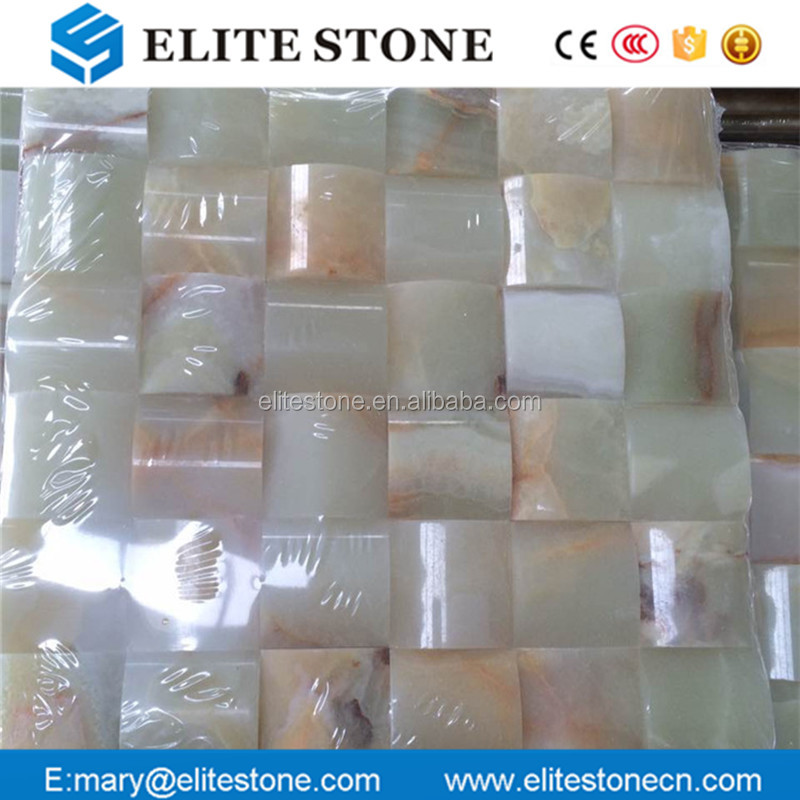 Luxury natural stone onyx mosaic 3D green onyx tile