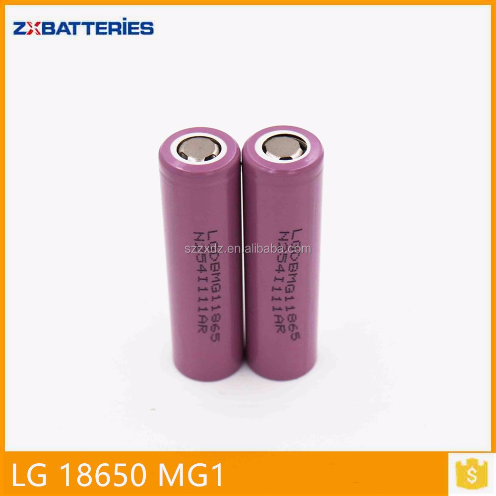 18650 rechargeable li-ion battery LG MG1 Cell 3.7v 2900mah for E-cig/power tool